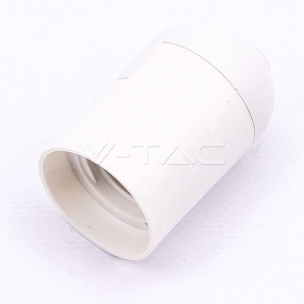 Portalampada E27 Filettato Bianco Liscio