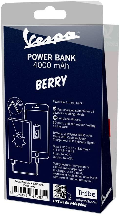 Power Bank 4000mAh Vespa Rosso Berry