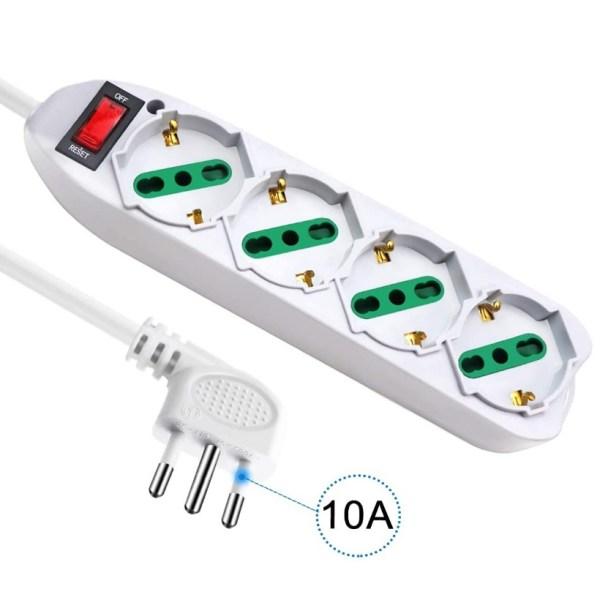Multipresa Ciabatta Elettrica 4 posti Schuko Polivalenti Spina 10A con Protezione Sovraccarico