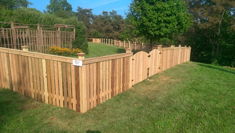 4' Cedar Flat Top Picket Fence