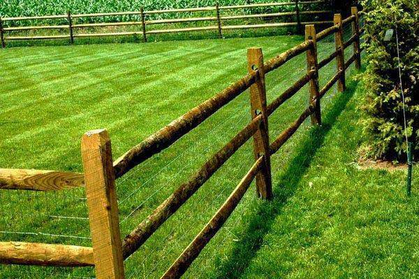 3 Rail Split Rail Fence with Wire