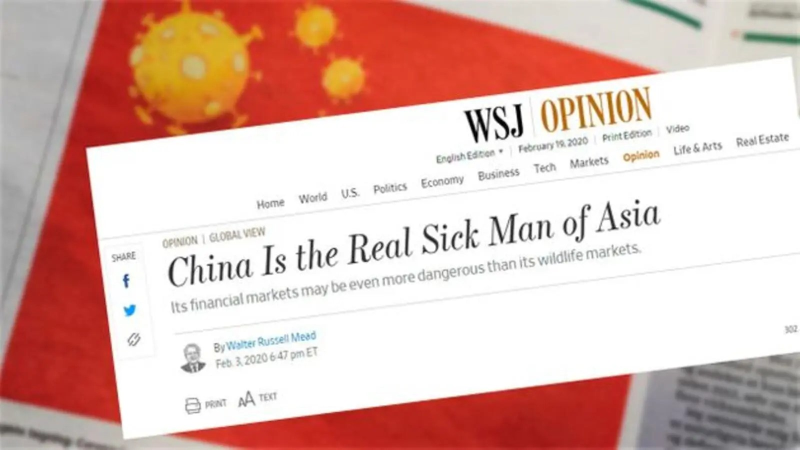 'The Real Sick Man of Asia': China Expels 3 Wall Street Journal Reporters | Al Bawaba