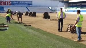Colocación de tepes naturales en Linarejos | Linares28.es