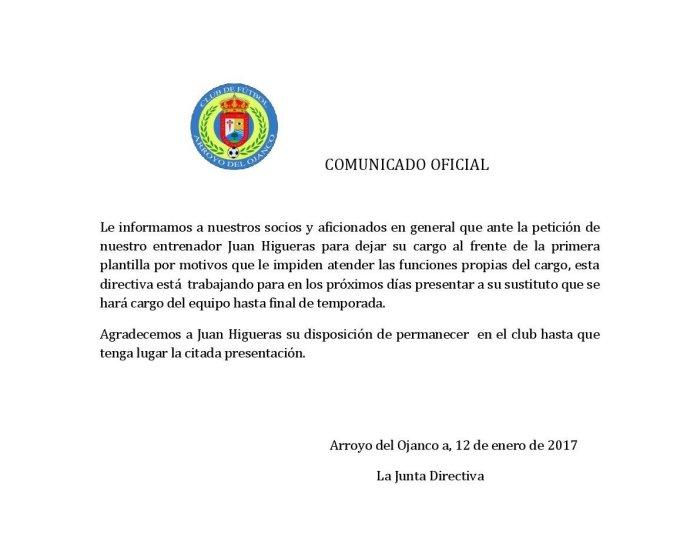 Comunicado distribuido por el club | CF Arroyo