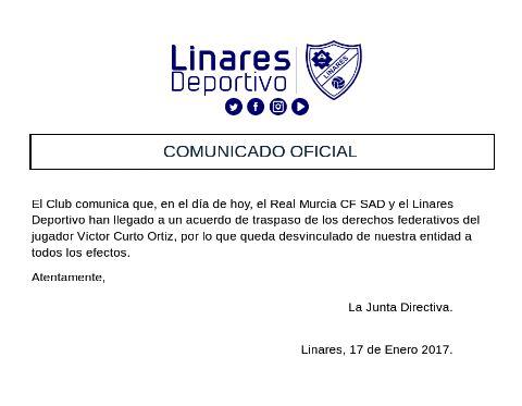 Comunicado emitido por el club azulillo | Linares Deportivo