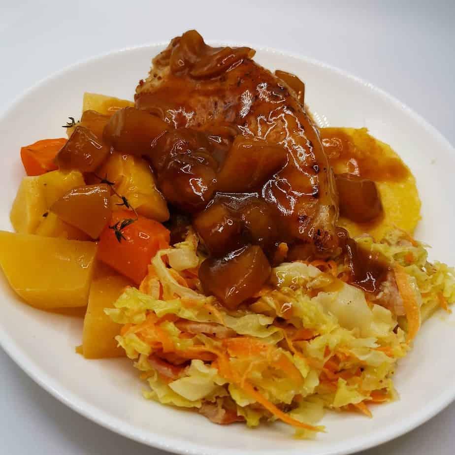 Pork Tenderloin Fillet with Honey Glazed Carrots, Cabbage & Fried Polenta