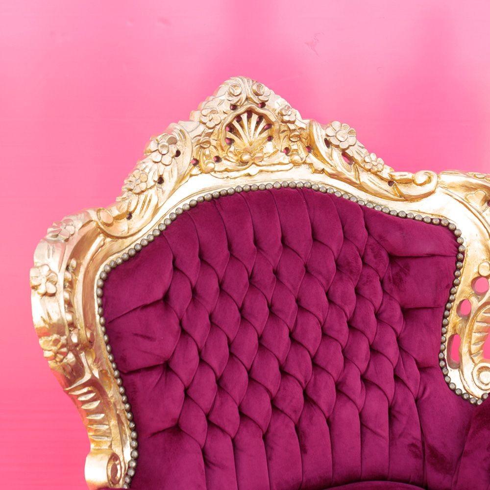 Poltrona barocco Marsiglia oro con tessuto bord