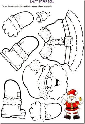 Manichino di Babbo Natale di carta da usare come addobbo