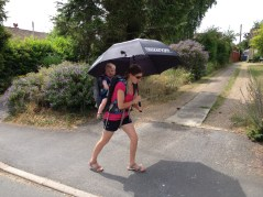 Liz walking Thomas back to Suffolk Yacht Harbour
