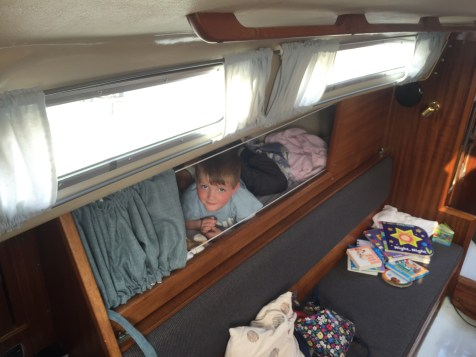 Thomas in his cosy pilot berth
