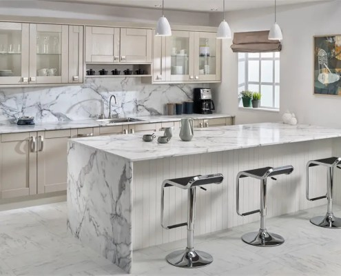 Marble effect worktops white and cream contemporary kitchen design