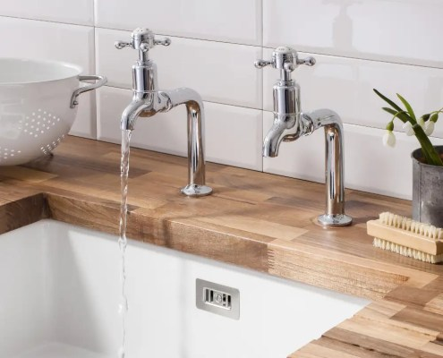 traditional taps and ceramic sink design