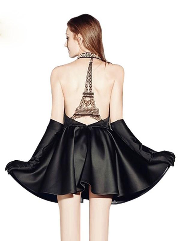 Backless Dress Limited Clubwear Cut Eiffel