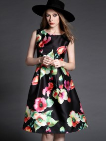 Red Black Floral Print Midi Dress