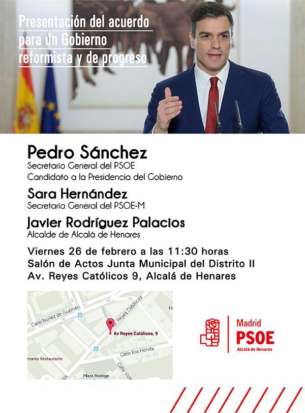 Pedro Sánchez presenta en Alcalá de Henares el acuerdo del PSOE con Ciudadanos
