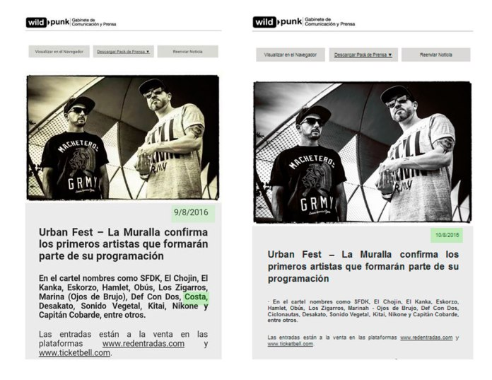 A la izquierda, la captura de pantalla reproducida por Miracorredor. tv de la nota de prensa remitida el 9 de agosto donde figura la actuación del rapero ... A la derecha, pantallazo de Alcalá HOY de la nota de prensa remitida el dia 10 de agosto donde ya ha desaparecido Costa.
