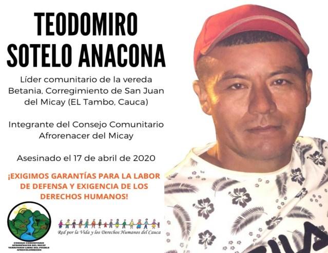 Asesinan a Teodomiro Solteno Anacona frente a su familia en el Tambo, Cauca