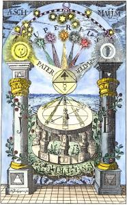 An image of the astrologer consulting the heavens. From Robert Fludds Utriusque cosmi historia, Vol II.
