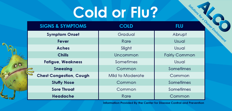 Differences Between Influenza, the Common Cold and the Stomach Flu ...
