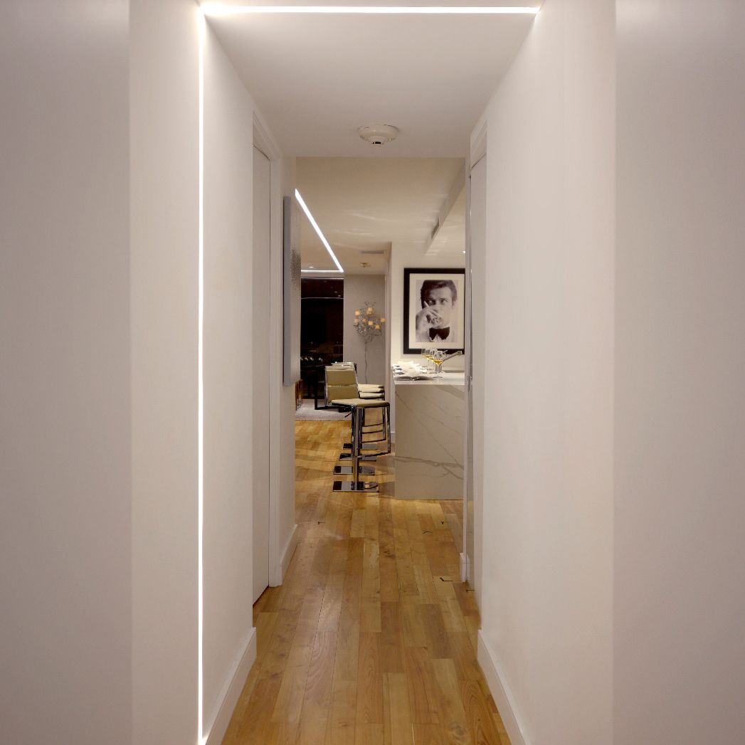 alcon 12100 23 r l linear recessed ceiling to wall led light strip