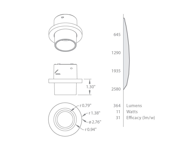 Lightolier Calculite D2lr03 Micro Vetro Round Glass C2l04