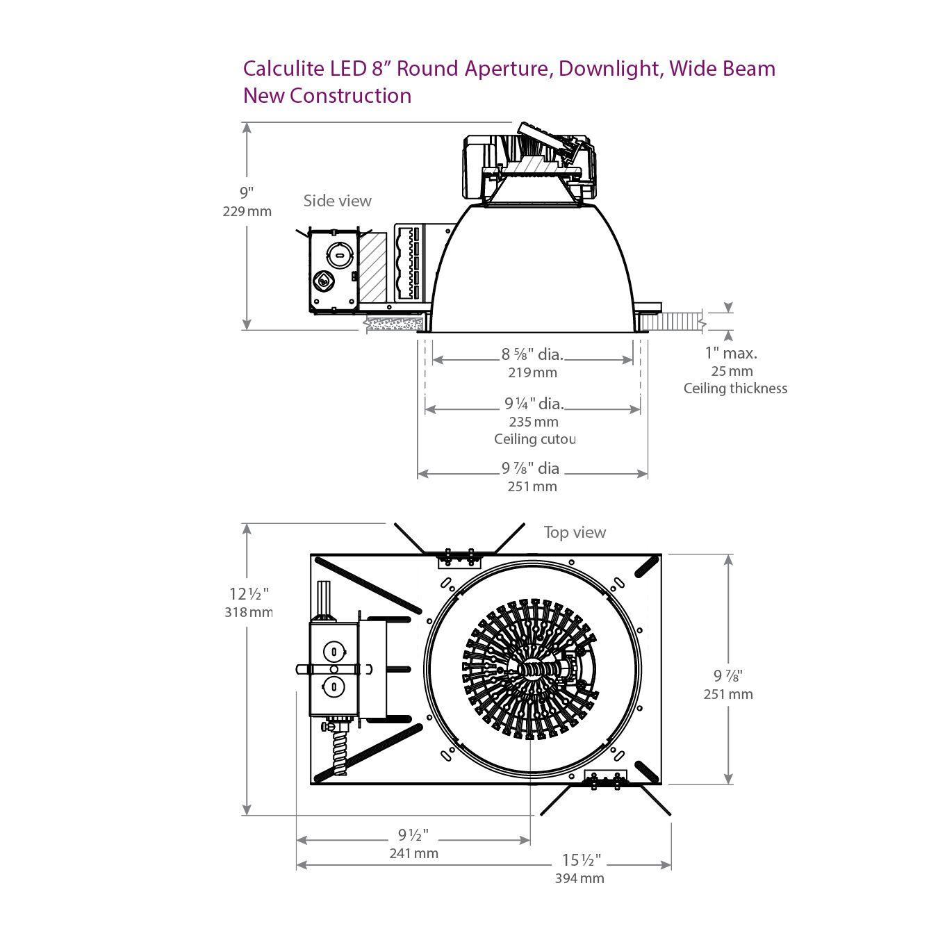 Lightolier C8l35n Calculite Led 8 Round Aperture Wide