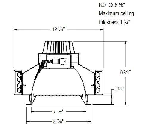 Atlantic Lighting LED8-DLM Lensed 8 Inch LED Recessed