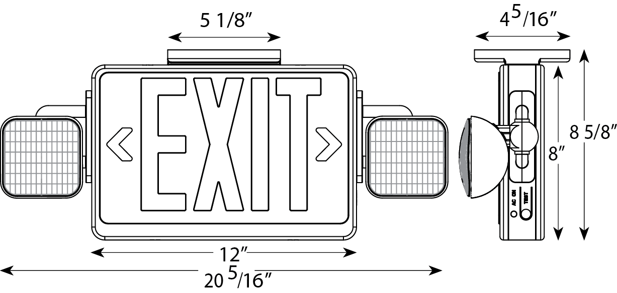 Aluminum Exit Sign With Emergency Lights