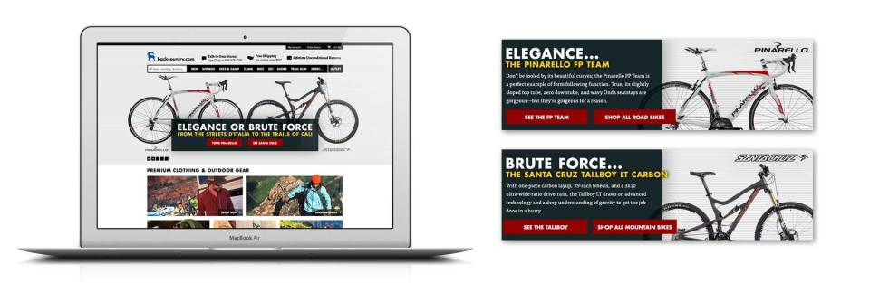 Client: Backcountry.com Web graphics and promotion for Pinarello and Santa Cruz Bicycles