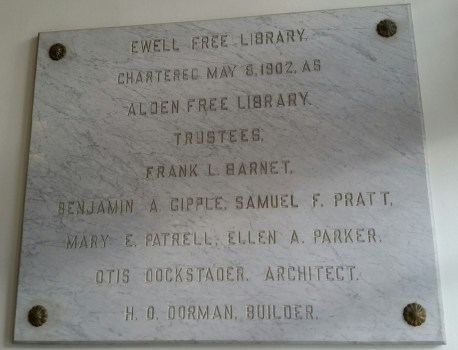 Marble tablet with library's first board of trustees