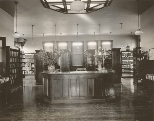 Interior of Alden Ewell Free Library from early 1900s