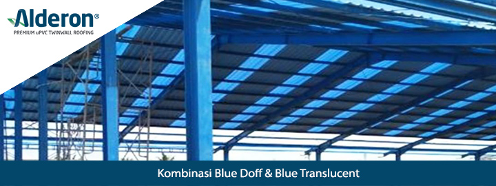 alderon twinwall kombinasi blue doff dan blue translucent rekomendasi atap transparan bening