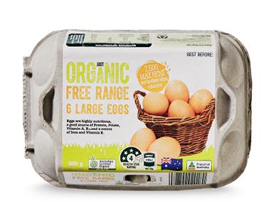 Just Organic Free Range Eggs 6 Pack 300g - ALDI Australia