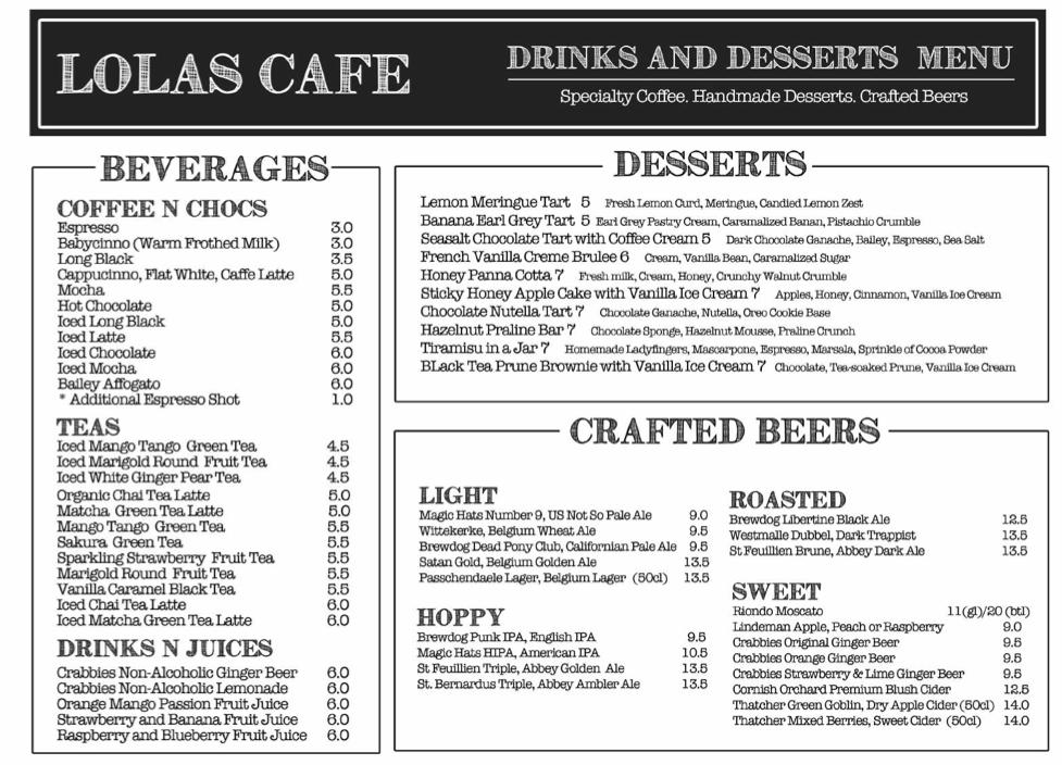 Lolas Cafe Menu