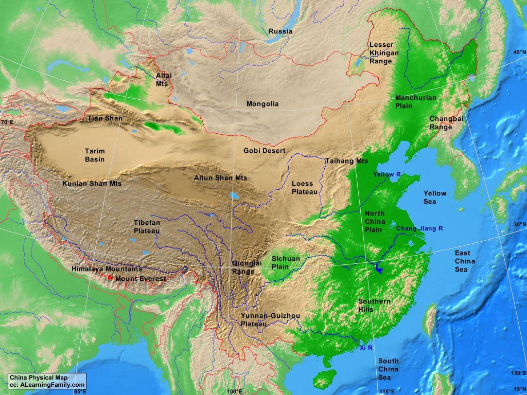 China Physical Map