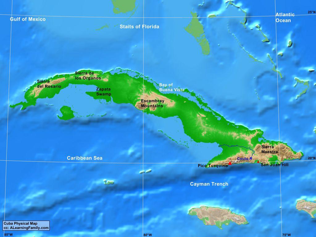 Cuba Physical Map