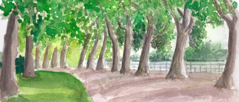 dessin à l'aquarelle du bord de l'Allier à Vichy