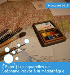 [ Expo ] Les aquarelles de Stéphane Prévot à la Médiathèque Valery-Larbaud
