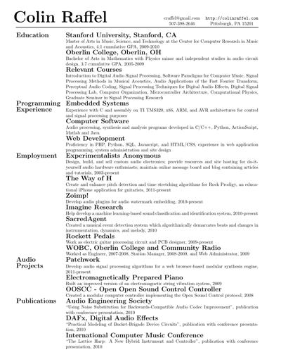 Résumé Or Curriculum Vitæ CV In LaTeX Alec's Web Log