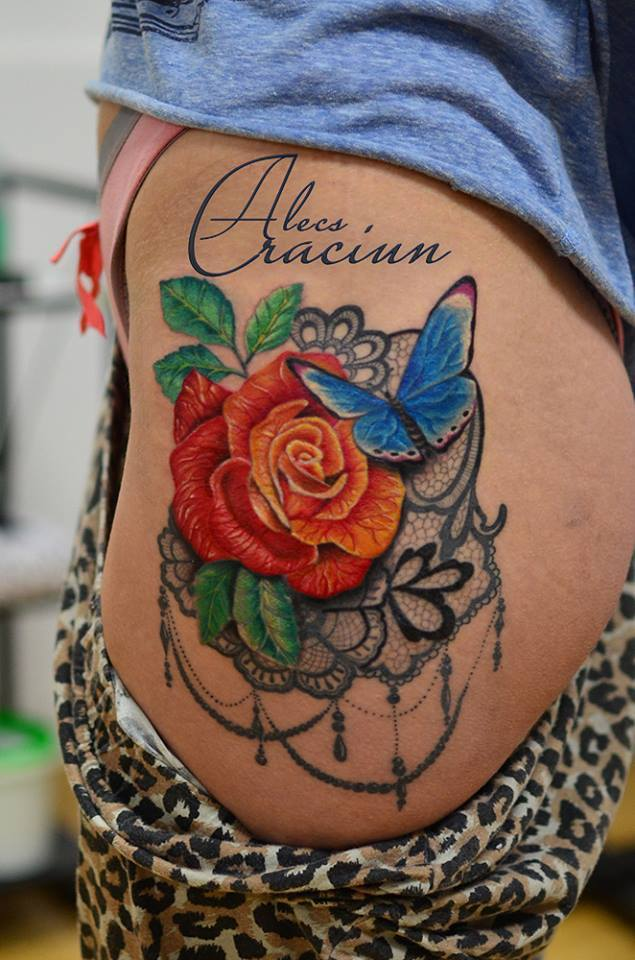 lace rose and butterfly Tattoo AlecsCraciun Alecs Craciun Alecs-Tattoo tatuaje brasov tattoo brasov