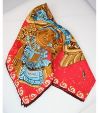 Chimalli Pineda Covalin Large Silk Scarf in Red