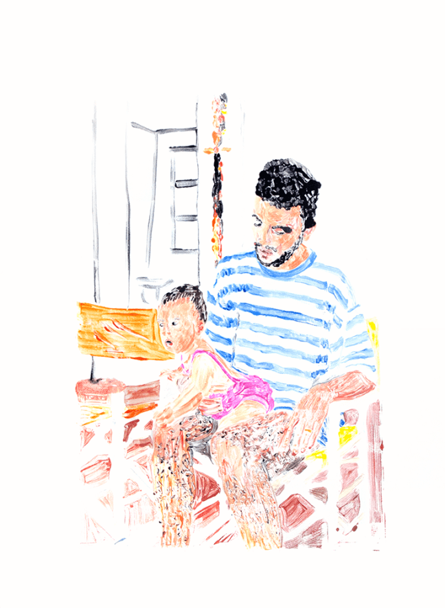 Dad with baby, Monotype, Acryl on paper, 48x64.3cm, 2017