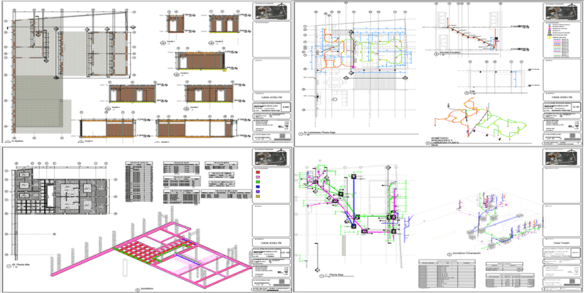 """Figura 3. Resumen del juego de 32 planos del proyecto """"Casa Joselyn"""", proporcionado por el estudio CONSASUR, de arriba izquierda, plano de albañilería, arriba derecha, plano de instalaciones eléctricas, abajo izquierda estructural planta baja, abajo derecho instalaciones Hidrosanitarias."""