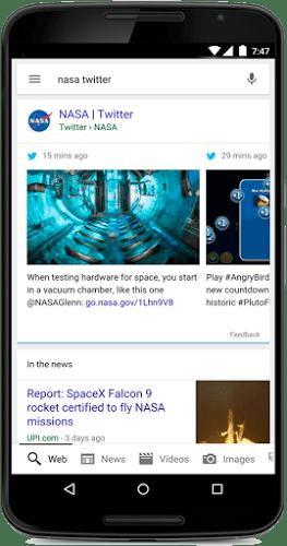 Tuits en búsquedas de Google