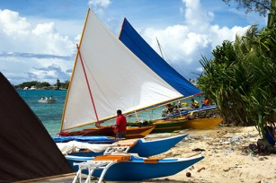Canoes of the Marshall Islands on Delap beach