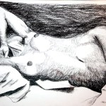 Akt - kresba uhlem