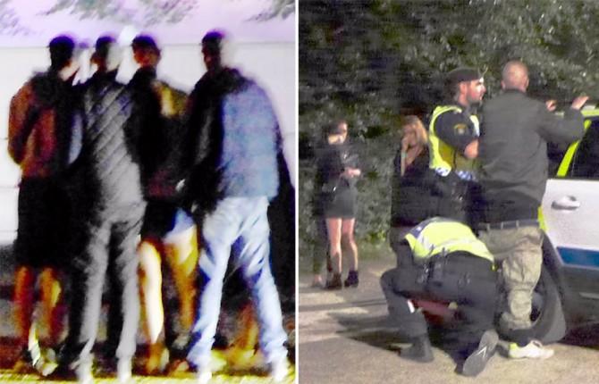 Escenas registradas en un festival veraniego de música en Malmoe. A la izquierda, un grupo de jóvenes rodea y asalta sexualmente a una joven. A la derecha, la Policía arresta a un sospechoso mientras las víctimas lloran al fondo.