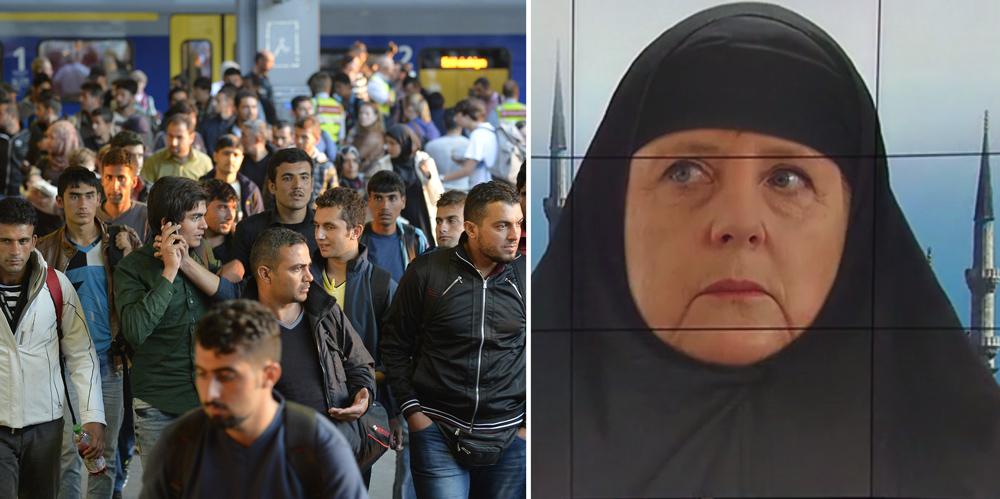 """Izquierda: algunos de los cientos de miles de migrantes que llegaron a Múnich en 2015. Derecha: la cadena pública alemana ARD rechazó haber emitido """"propaganda antiislámica"""" después de que difundiera un fotomontaje de la canciller Angela Merkel con atavío islámico."""