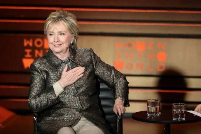 La ex secretaria de Estado estadounidense, Hillary Clinton, en la cumbre Mujeres en el Mundo en Nueva York