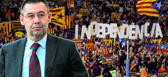 Josep Maria Bartomeu, presidente del FC Barcelona. Al fondo las gradas del Nou Camp repletas de símbolos separatistas.